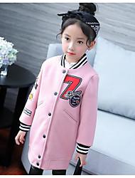 cheap -Girls' Print Jacket & Coat,Rabbit Fur Faux Fur Cotton Winter Fall Long Sleeve Blushing Pink Gray