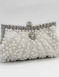 cheap -Women's Bags Satin Evening Bag Beading / Crystals / Pearls White / Black / Beige / Wedding Bags