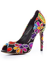 preiswerte -Damen Schuhe Kunstleder Winter Pumps High Heels Stöckelabsatz Peep Toe Blume Kaskaden Rüschen Für Kleid Party & Festivität Rot