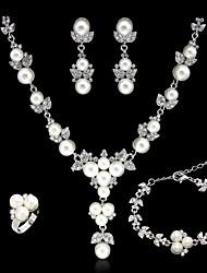 Недорогие -Жен. Цепочка Браслет Искусственный жемчуг Синтетический алмаз Свадьба Для вечеринок Стразы Сплав Геометрической формы Ожерелья Серьги
