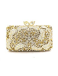Women Bags All Seasons Metal Evening Bag Crystal Detailing Lace for Wedding Event/Party Gold