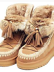 Feminino Sapatos Pele Inverno Botas de Neve Botas Salto Grosso Botas Curtas / Ankle Para Casual Preto Castanho Escuro