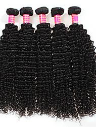 baratos -Não processado Cabelo Peruviano Crespo Cacheado Extensões de cabelo 4 Peças Preto