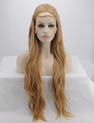 Women Synthetic Wig Lace Front Long Water Wave Light Brown Party Wig Halloween Wig Carnival Wig Natural Wigs Costume Wig