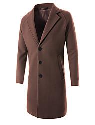 Men's Daily Simple Casual Winter Fall Coat,Solid Shirt Collar Long Sleeve Long Wool Rayon