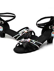 Da donna Balli latino-americani Seta Tacchi Per interni Con fermaglio di chiusura Tacco alto Nero Personalizzabile