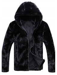 cheap -Men's Daily Simple Vintage Casual Winter Fall Fur Coat,Solid Hooded Long Sleeve Regular Faux Fur
