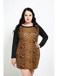 preiswerte -Damen Etuikleid Kleid-Lässig/Alltäglich Übergröße Leopard Rundhalsausschnitt Übers Knie Langarm Baumwolle Polyester Elasthan Alle Saisons