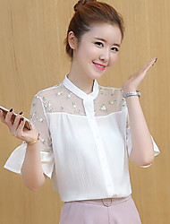 cheap -Women's Daily Casual Blouse,Solid Shirt Collar Short Sleeves Others