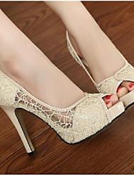 preiswerte -Damen Schuhe Leder Frühling Herbst Pumps High Heels Stöckelabsatz für Normal Schwarz Beige