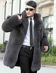 economico -Cappotto di pelliccia Da uomo Casual Semplice Autunno Inverno,Tinta unita Colletto Pelliccia sintetica Pelliccia di volpe Lungo Manica