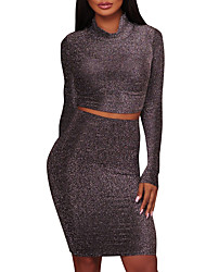 cheap -Women's Going out Club Sexy Street chic Spring Fall T-shirt Skirt Suits,Solid Simple Crew Neck Polyester Micro-elastic