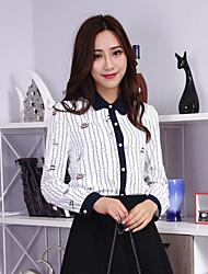 Women's Casual/Daily Cute Shirt,Striped Shirt Collar Long Sleeves Others Medium
