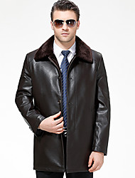 cheap -Men's Daily Simple Casual Winter Fall Leather Jackets,Solid Shirt Collar Long Sleeve Long Lambskin