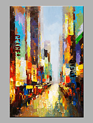 abordables -Pintada a mano Abstracto Vertical,Modern 1 pieza Lienzos Pintura al óleo pintada a colgar For Decoración hogareña