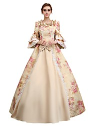 Victorian Rococo Female Adults' Party Costume Masquerade Pink Cosplay Satin 3/4 Length Sleeves Floor Length