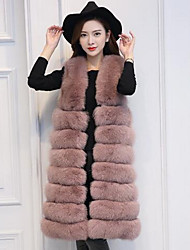 Women's Daily Simple Casual Winter Fall Fur Coat,Solid V Neck Long Fox Fur