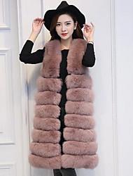economico -Cappotto di pelliccia Da donna Casual Semplice Autunno Inverno,Tinta unita A V Pelliccia di volpe Lungo
