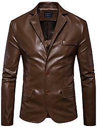 Men's Daily Plus Size Punk & Gothic Winter Fall Leather Jacket,Solid Notch Lapel Long Sleeve Regular PU Polyester