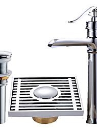 Set de centre Jet pluie Soupape céramique Mitigeur un trou Plaqué , Robinet lavabo