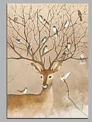 Недорогие -олень и птицы украшение стен ручной росписью современных картин маслом современное произведение искусства стены