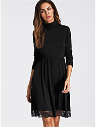 cheap -Women's Going out Casual A Line Dress,Solid Turtleneck Above Knee 3/4 Length Sleeves Cotton Spring Fall Mid Rise Inelastic Thin