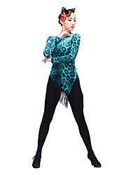Latinské tance Topy Dámské Taneční vystoupení Čínský nylon Flanel Dlouhé rukávy Vrchní část oděvu