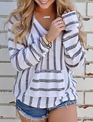 preiswerte -Damen Standard Pullover-Lässig/Alltäglich Gestreift Einfarbig V-Ausschnitt Langarm Polyester Herbst Winter Mittel Mikro-elastisch