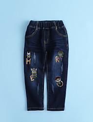 cheap -Boys' Animal print Cartoon Embroidered Jeans,Cotton Fall All Seasons Pants Geek & Chic Anime Cowboy Leisure Hiphop Korean Blue Black