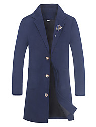 cheap -Men's Simple Casual Chinoiserie Long Plus Size Pea Coat-Solid Colored