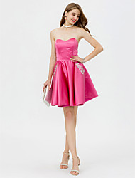 cheap -A-Line Sweetheart Short / Mini Satin Cocktail Party / Homecoming / Prom / Black Tie Gala / Holiday Dress with Beading Crystal Detailing
