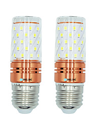 cheap -2pcs 12W E27 LED Corn Lights T 60 leds SMD 2835 Warm White White Dual Light Source Color 1000lm 3000-3500  6000-6500  3000-6500K AC