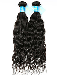 cheap -Remy Peruvian Natural Color Hair Weaves Water Wave Hair Extensions Two-piece Suit Black