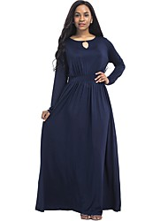 cheap -Women's Plus Size Street chic Cotton Sheath Dress - Solid Colored Cut Out Ruched Maxi