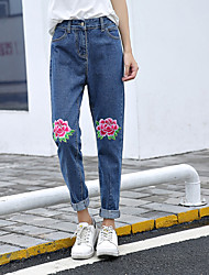 Women's High Rise Inelastic Skinny Jeans Pants,Street chic Simple Slim Solid Floral