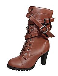 preiswerte -Damen Schuhe Leder Winter Herbst Komfort Neuheit Pumps Stiefel Blockabsatz Schnalle Reißverschluss für Hochzeit Normal Kleid Party &