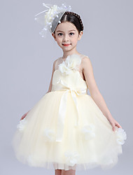 cheap -Ball Gown Princess Knee Length Flower Girl Dress - Tulle Sleeveless Jewel Neck with Flower(s) Sash / Ribbon by Bflower