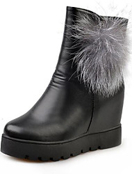 cheap -Women's Shoes Leather Spring / Fall Snow Boots / Fluff Lining Boots Booties / Ankle Boots / Mid-Calf Boots Black / Red