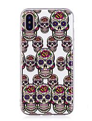 preiswerte -Hülle Für Apple iPhone X iPhone 8 Plus Im Dunkeln leuchtend IMD Muster Rückseite Totenkopf Motiv Weich TPU für iPhone X iPhone 8 Plus