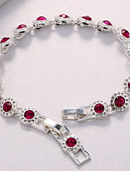 cheap -Women's AAA Cubic Zirconia Cubic Zirconia Silver Plated Chain Bracelet - Circle Red Bracelet For Wedding Party