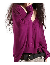 Women's Going out Casual/Daily Simple Regular Pullover,Solid V Neck Long Sleeves Wool Fall Thin Micro-elastic