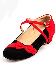 cheap -Women's Kids' Dance Shoes Flocking Leatherette Performance Black/Red Customizable