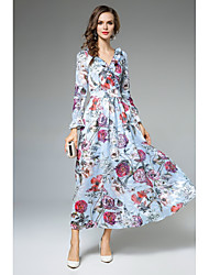 Недорогие -Для женщин На каждый день Офис Простое Уличный стиль С летящей юбкой Платье Цветочный принт,V-образный вырез Макси Длинный рукав Полиэстер