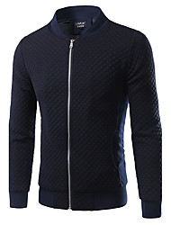 cheap -Men's Sports Plus Size Cotton Jacket - Solid Colored, Pleated Stand