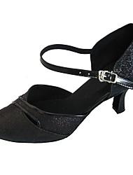 cheap -Women's Modern Sparkling Glitter Sandal Indoor Customized Heel Black