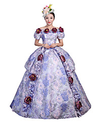 cheap -Rococo Victorian Female Adults' Masquerade Party Costume Blue Cosplay Satin Short Sleeves Floor Length