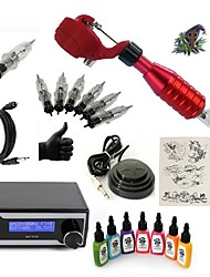 cheap -Starter Tattoo Kit 1 rotary machine liner & shader Tattoo Machine LED power supply 7 × 15ml Tattoo Ink 5 x disposable grip