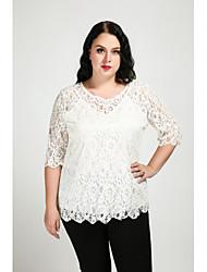 cheap -Women's Plus Size T-shirt - Solid, Lace
