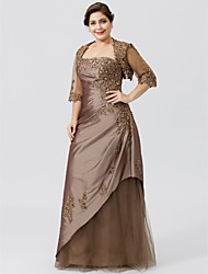 cheap -A-Line Strapless Floor-length Taffeta Tulle Plus Size Mother of the Bride Dress by LAN TING BRIDE®