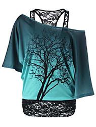 preiswerte -Damen Einfarbig T-shirt, Bateau Druck Baumwolle